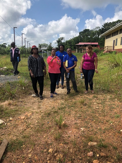 MoPH Procurement Manager, Seewchan offers Minister of Public Health, Hon. Volda Lawrence and other officials a guided tour of the areas in the complex which will undergo corrective works.