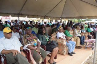 Minister of Natural Resources, Hon. Raphael Trotmon and Minister of Youth Affairs, Hon. Simona Broomes and Minister of Foreign Affairs, Dr. Karen Cummings among those gathered at the launching of the Heritage Village Day in River's View
