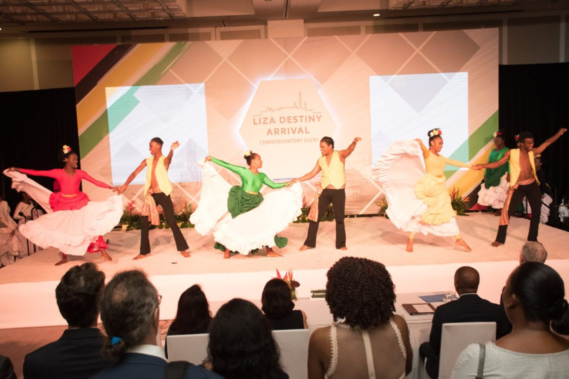 One of the cultural performances during the welcome reception held in recognition of the arrival the Liza Destiny