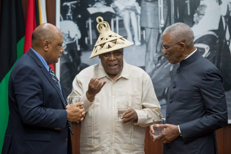 His Excellency, President David Granger, High Commissioner to Guyana from the Kingdom of Lesotho, His Excellency Ralechate Mokose and Minister of Natural Resources, Hon. Raphael Trotman share a light moment.