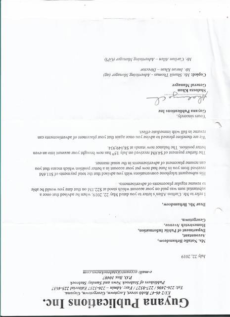 Stabroek News letter to DPI - 2019-07-22