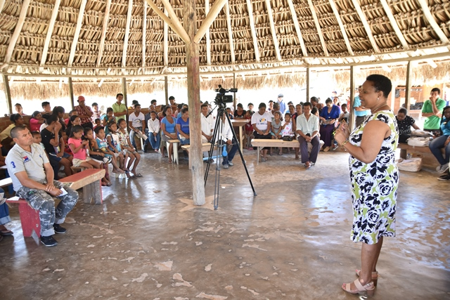 Minister of Public Health, Hon. Volda Lawrence engages Monkey Mountain residents.