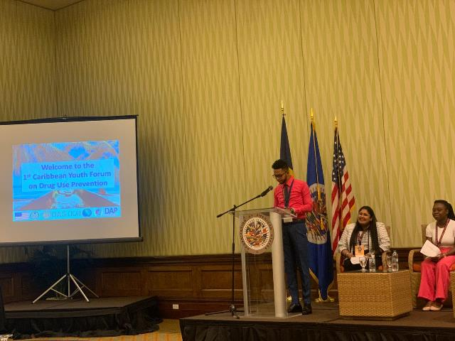 Picture of Mr. Hamraj Narine delivering Remarks during the Opening Ceremony of the Youth Forum