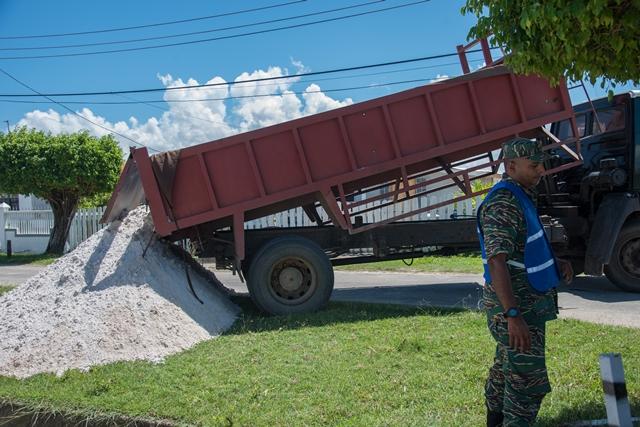 Sand Truck offloading sand in Blankenburg, WCD.