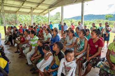 Kopinang residents in Region 8 participating in a community meeting.