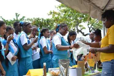 Students of the St. Joseph High School eagerly interacts with the staff of GSA's Agro-processing unit.