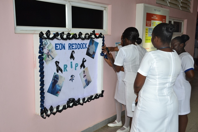 Nurses of the LHC sets up a memorial in remembrance of Nurse Eon Reddock.