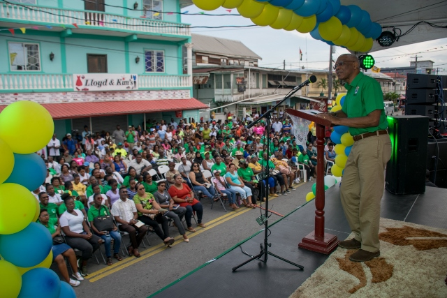 Excellency, President David Granger addressing residents of New Amsterdam.