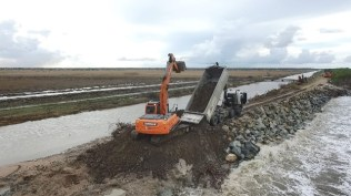 Ongoing emergency sea defence works at Dantzig foreshore.