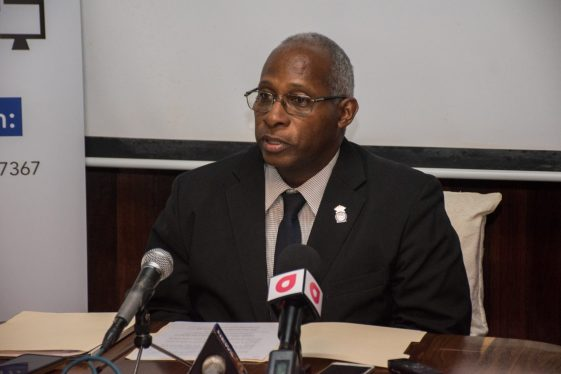 Chairman of the GNBA, Leslie Sobers addressing the media.