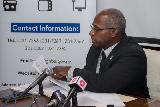 Chairman of the GNBA, Leslie Sobers listing the number of infractions by the two broadcasting entitites.