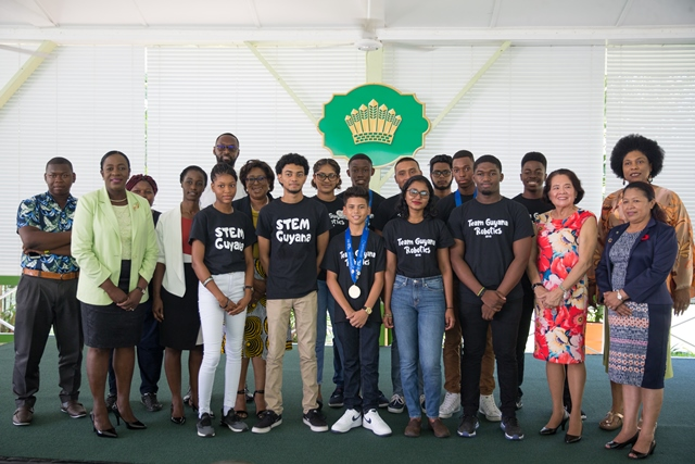Ministers of State, Hon. Dawn Hastings-Williams, Public Telecommunications, Hon. Catherine Hughes, Minister of Education, Hon. Dr. Nicolette Henry, Director of Sport, Christopher Jones and First Lady, Sandra Granger along with members of the STEM Guyana team.