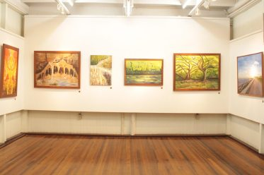 Artwork on display at the 'Nature Blooms' exhibition at the Castellani House.