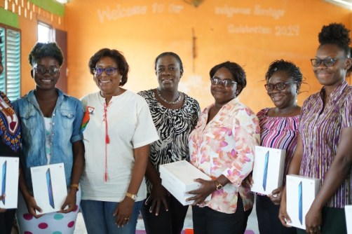Minister of Education, Hon. Dr. Nicolette Henry, Minister of Public Telecommunications, Hon. Catherine Hughes and the Headteacher and teachers of Kato Secondary School.