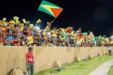 Guyana Amazon Warriors fans at the Guyana National Stadium showing their support.
