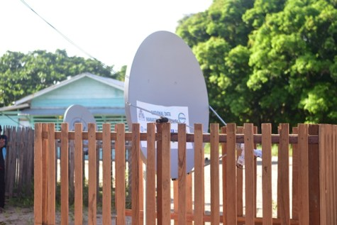 One of the satellite dishes installed in the North Rupununi for residents to access the internet