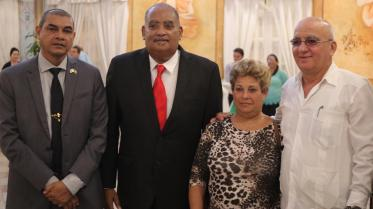 [In the photo, from left] - Minister of Business, Hon. Haimraj Rajkumar, Businessman Wesley Kirton and Cuba's Vice Minister of Foreign Trade and Investment, Roberto Lopez and wife.