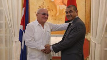 Minister of Business, Hon. Haimraj Rajkumar and Cuba's Vice Minister of Foreign Trade and Investment, Roberto Lopez.