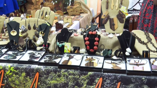 Some of Irene Bacchus-Holder's craft pieces on display at the Agri-Tourism Expo.