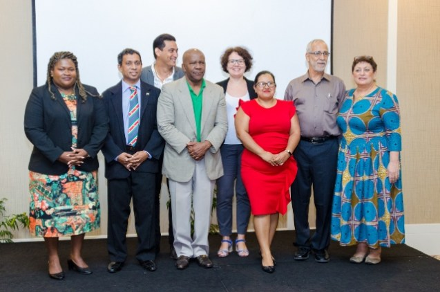 Director-General of the Department of Tourism, Donald Sinclair with members of the Three Guianas Expo Committee.