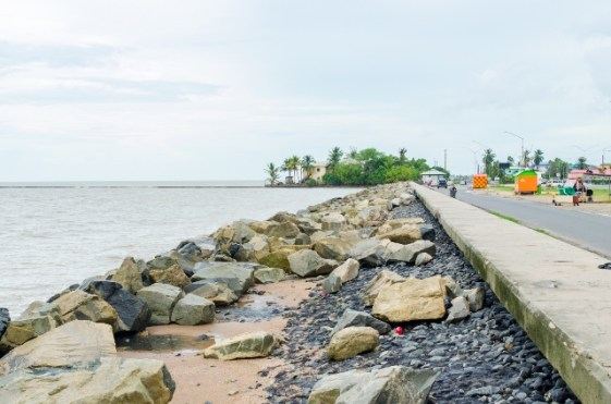 A section of the seawalls in Kitty, Georgetown.