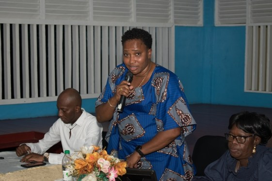 Minister within the Ministry of Communities, with responsibility for Housing, Hon. Annette Ferguson delivering her address to the people.