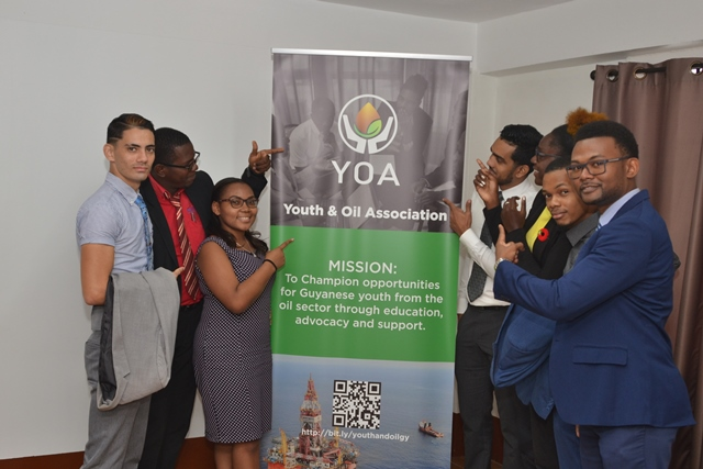 Executive members of the Youth and Oil Association, during the launch on Thursday. (In Photo) Public Relations Director, Stephen Surujbally, Secretary Odel Bascom, Assistant Treasurer Stephanie Jones, Networks Director and Head of the Financial Literacy Committee, Ricardo Nirghin, Legal Director Ayodele Roache, Assistant Secretary Lindon Isles, and President, Dennon Lewis.