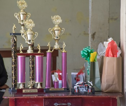 Some of the gifts and trophies handed out to the ICT Workshop top performers.