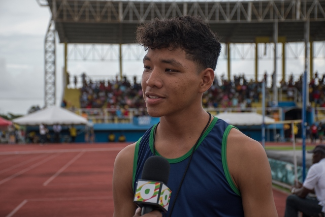 Erick Desouza, from District 12 competed in the high jump event.