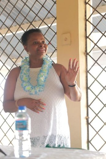 Minister of Public Health, Hon. Volda Lawrence, making a point during the community meeting.