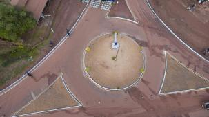 An aerial view of the roundabout at the newly commissioned Barrack Retreat Corridor road in Lethem