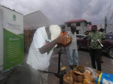 A demonstration of shedding of the coconut husk