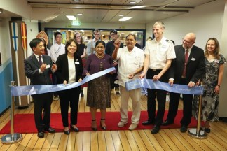 Prime Minister Moses Nagamootoo and wife Sita Nagamootoo joined Captain of the Logos Hope Samuel Hils and Director of the Logos Hope Pil-Hun Park and his wife to cut the ribbon to officially open the Logos Hope Bookfair.