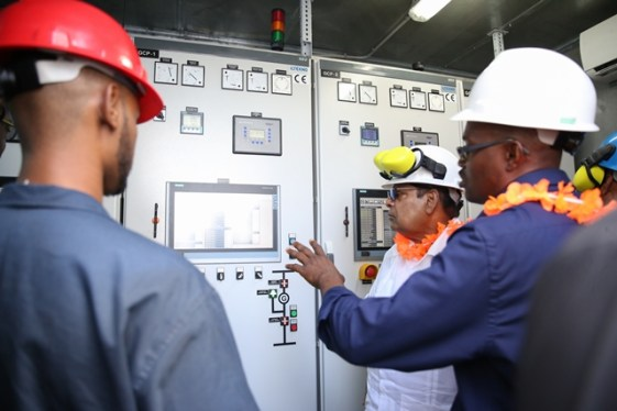 Prime Minister Hon. Moses Nagamootoo inspects the Anna Regina Power Plant during its commissioning