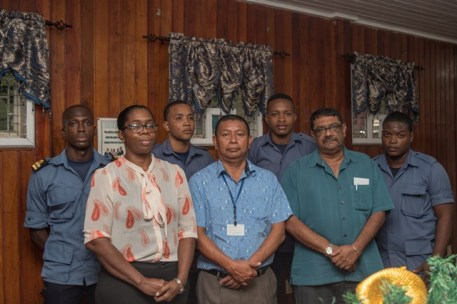 (front row from left) MARAD, Director of Port and Harbor, Louise Williams, Director of Maritime Safety Captain, John Flores, Regional Six Regional Chairman, David Armogan with staff of the newly opened Maritime Safety Centre in East Berbice-Corentyne.