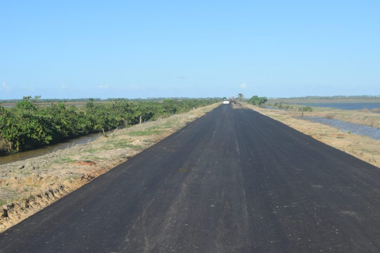 Now: The section of the Onverwagt, farm-to-market that is 95% complete.