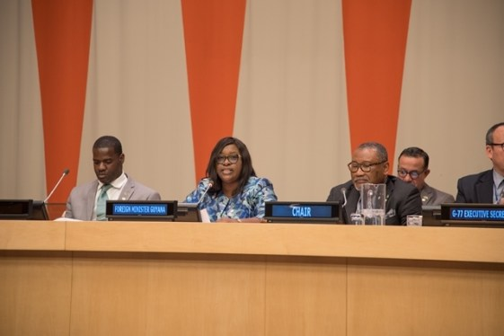 Minister of Foreign Affairs, Dr. Hon. Karen Cummings addresses her first organizational meeting of the G77.
