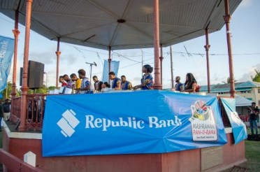 Some of the large steel pan playing at the Republic Bank's 2020 Panorama launch.