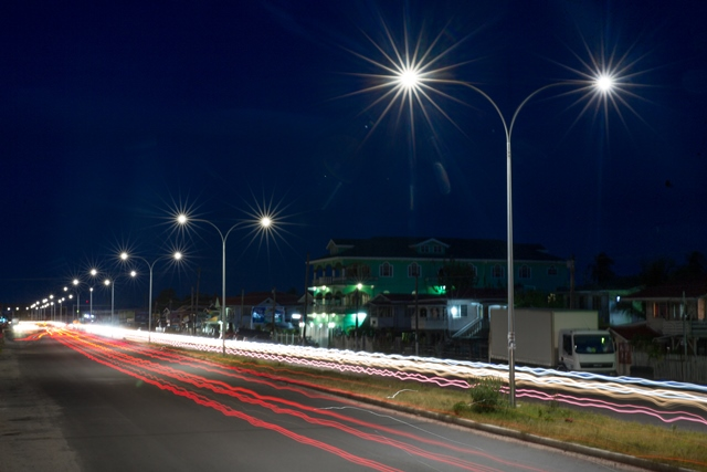 Night shot of the completed four-lane section of the East Coast of Demerara carriageway.