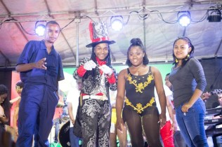 (left to right) Reigning Junior Calypso Monarch Jamal Stewart, runner-up Jovinski Thorne, Jada Harry in third place and Kezia Henry in fourth place.