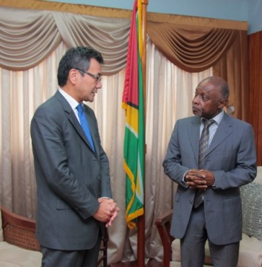 Ambassador Hirayama calls on Foreign Secretary, the Honourable Carl B. Greenidge.