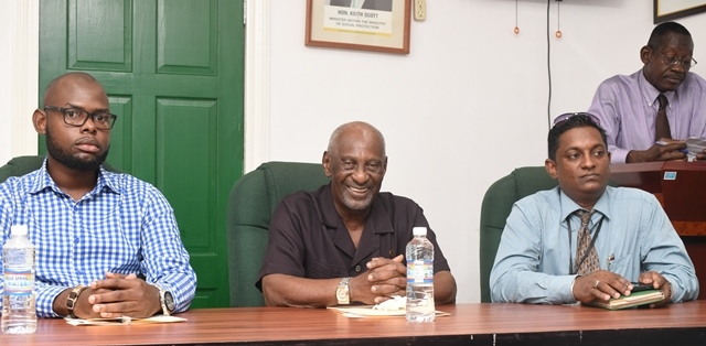 (from left) Programme Coordinator of the Sophia Community Association, Orin Nelson, Minister within the Ministry of Social Protection, with responsibility for Labour, Keith Scott, Representative of the Ministry of Education, Owen Pollard and Senior Probation Officer and Social Services, Aggrey Azore [extreme right].