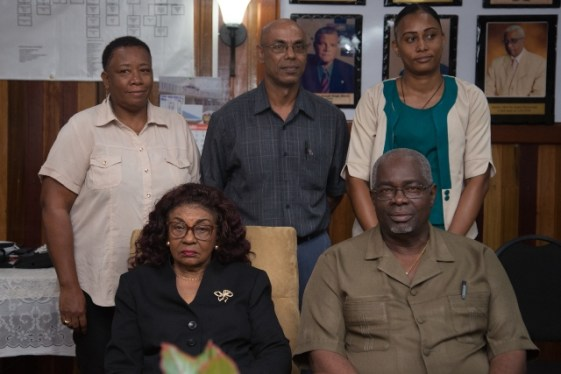 Ballot Officers with Chief Elections Officer, Keith Lowenfield and Rtd. Justice Claudette Singh, Chairperson, GECOM.