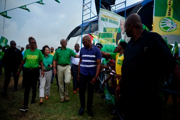 H.E David Granger and his wife, First Lady, H.E Sandra Granger arriving in the village of Hopetown.