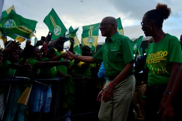 President David Granger greeting the residents of Region 5.