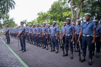 Honor Guard of Coast Guard ranks at State House prior to the opening of the Annual GDF Officers' Conference.