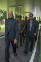 President and Commander in Chief David Granger and Minister of Public Security Khemraj Ramjattan arriving at State House for the Annual GDF Officers' Conference.