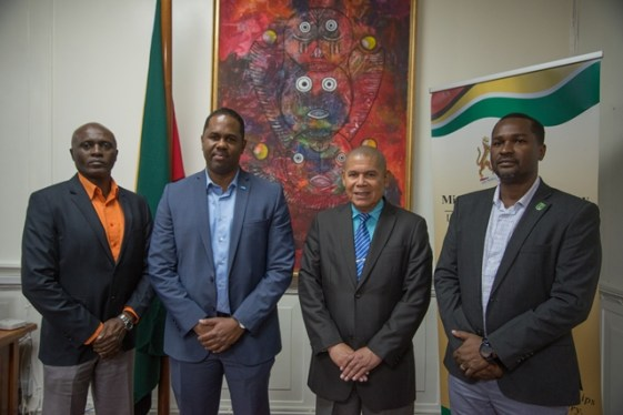 (from left) Rev. Ian Alves, Guyana Football Federation [GFF] Director of Competitions, Marlon Glean Caribbean Development Manager FIFA, Minister of Social Cohesion, Hon. Dr George Norton and Wayne Forde President of the Guyana Football Federation GFF.