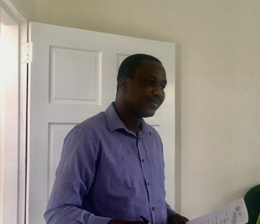 Facilitator of the workshop. Temitope D. Timothy Oyedotun, the Dean of the University of Guyana's (UG) Faculty of Earth and Environment Sciences