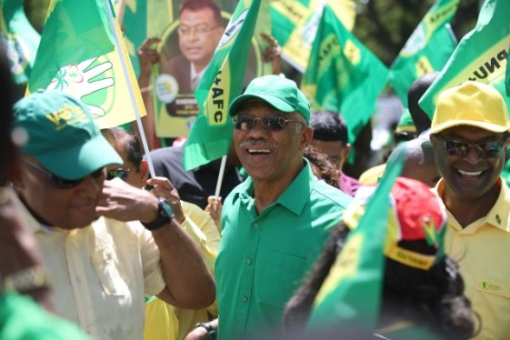His Excellency President David Granger and Prime Ministerial candidate and Minister of Public Security Khemraj Ramjattan surrounded by a sea of supporters.